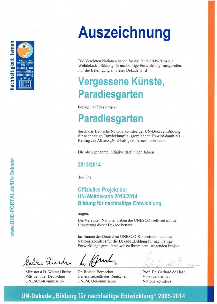 UNESCO Auszeichnung Paradiesgarten